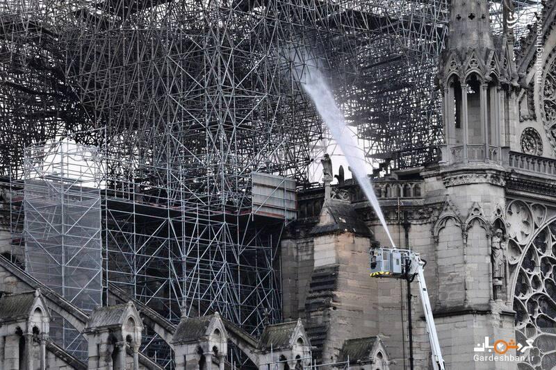 عکس/ کلیسای نتردام پس از مهار آتش