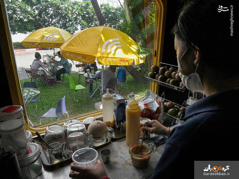 قطاری در کامبوج  که تبدیل به کافه شد+تصاویر